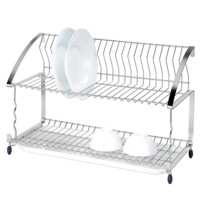 【樂活主義】不鏽鋼豪華雙層多功能碗盤架
