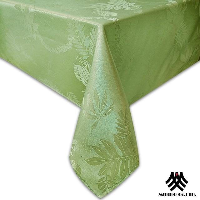 【M.B.H─夏威夷草】緹花防潑水桌巾(草綠140x230cm)