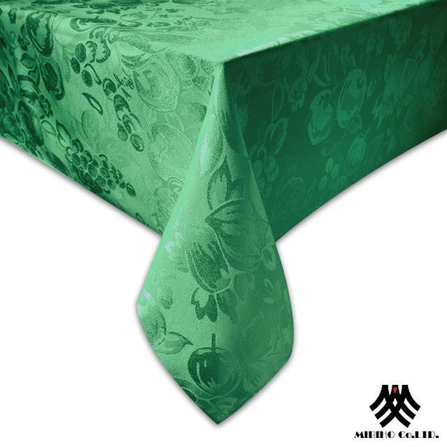 【M.B.H─水果花園】緹花防潑水桌巾(深綠140x230cm)