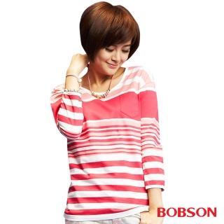 【BOBSON】女款條紋長袖上衣(桃紅33106-12)