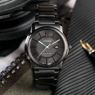 【CITIZEN 星辰】Eco-Drive 萬丈光芒貴族時尚腕錶(黑-AW1215-54E)