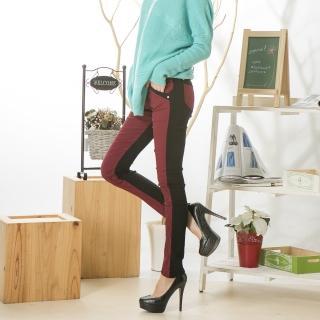 【RH】鬆緊寬腰褲頭拼雙色後刷毛牛仔長褲(玫瑰紅拼塑型黑刷毛專利牛仔褲)