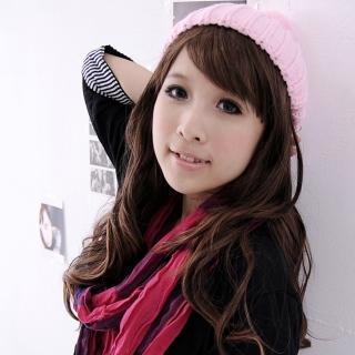 【Lady c.c.】繽紛毛球針織糖果色毛帽(粉)