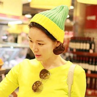 【Lady c.c.】雙色西瓜條紋暖暖毛帽(綠黃)