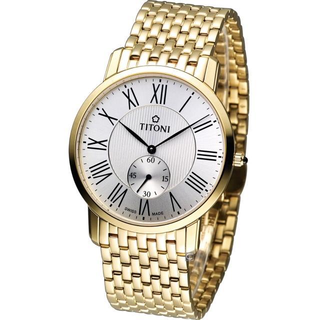 【TITONI 梅花錶】Slenderline 優雅情人時尚紳士錶(TQ52917G-375)