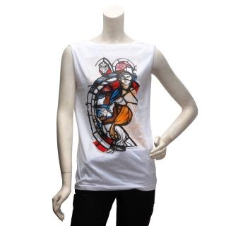 【BALENCIAGA】塗鴉風格後V領無袖T恤(女-294292-1000-XS)