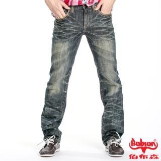 【BOBSON】男款立體貓鬚壓褶直筒褲(藍52)