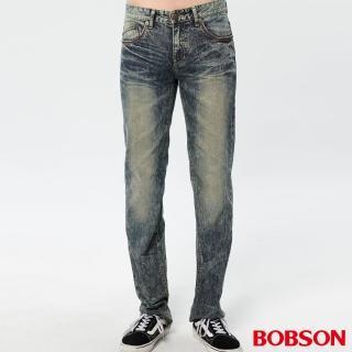 【BOBSON】男款刷白立體壓褶直筒褲(藍1748-52)