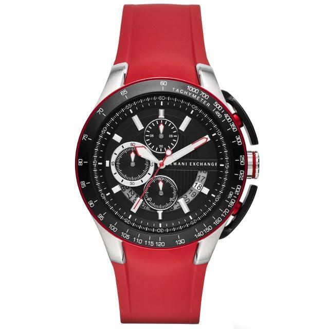 【AX Armani Exchange】品味醞釀時尚運動錶(紅AX1409)