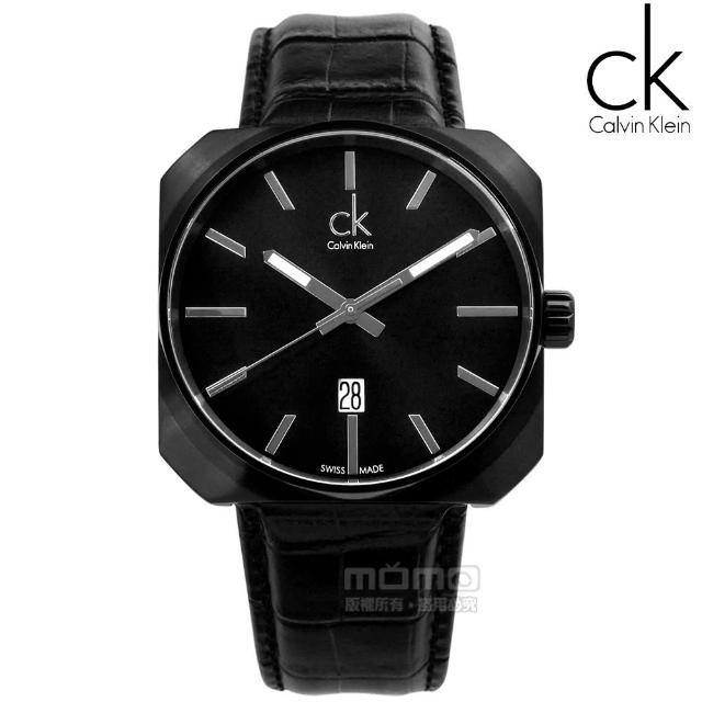 【Calvin Klein】時尚型男‧大面徑方型日期休閒皮帶腕錶╴黑(K1R21430)