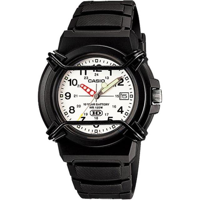 【CASIO 卡西歐】流行時尚指針休閒腕錶(白面-HDA-600B-7BVDF)