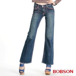 【BOBSON】女款紅色繡線寬管喇叭褲(深藍53)