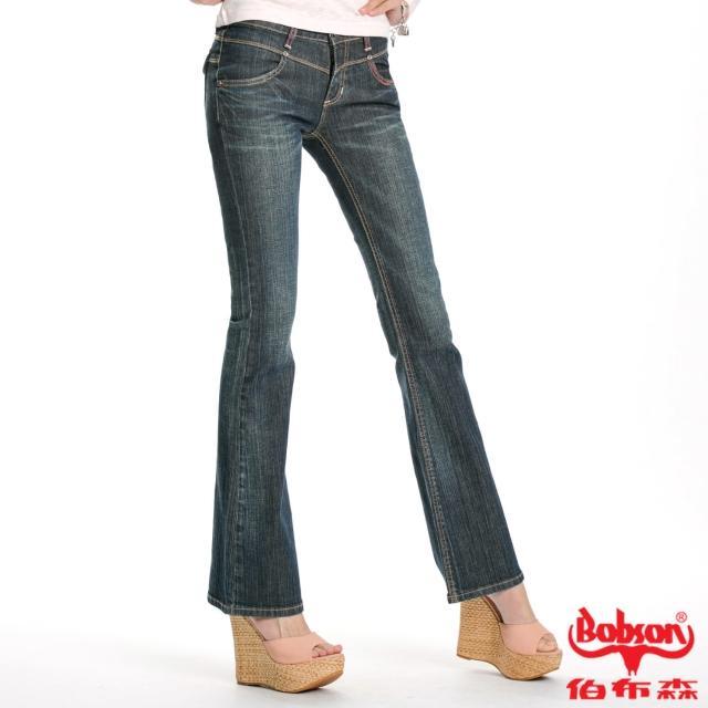【BOBSON】女款雪俏花朵鑽飾小喇叭褲(藍53)強檔特價