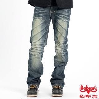 【BOBSON】男款立體刷紋中直筒褲(藍52)