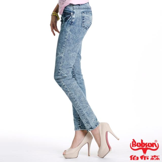 【BOBSON】女款30度雪俏小直筒褲(淺藍58)