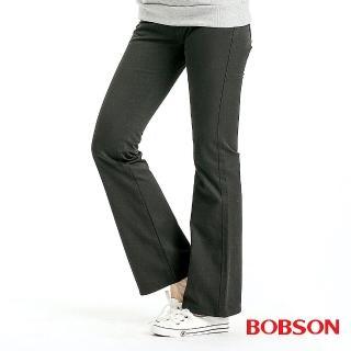 【BOBSON】女款混紡毛料小喇叭褲(黑88)