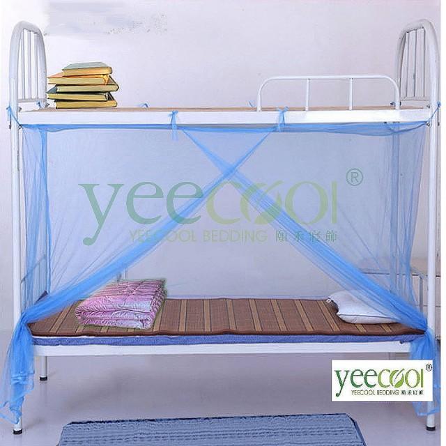 【Yeecool】1門藍紗細緻紗質長方形蚊帳(單人床或是上舖.下舖皆可用)