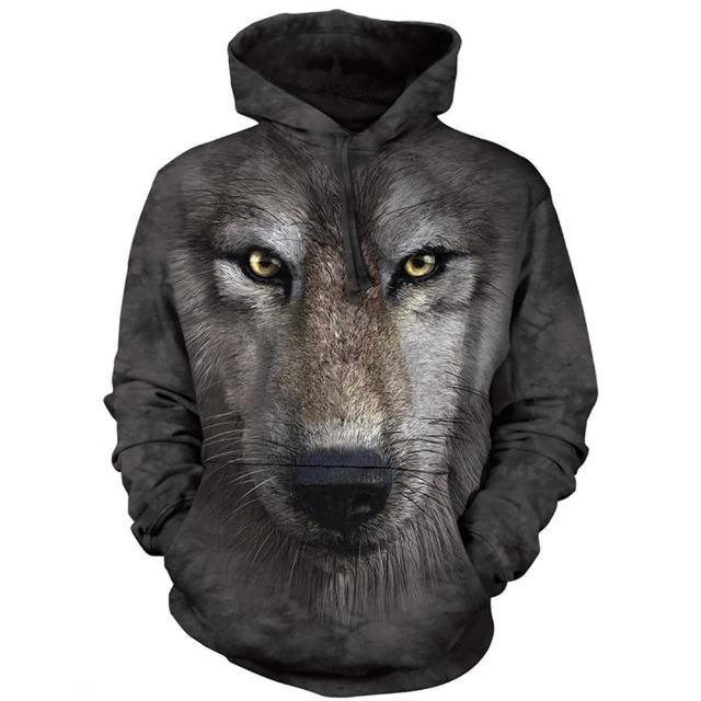 【摩達客】美國進口The Mountain 狼臉 長袖連帽T恤(現貨)