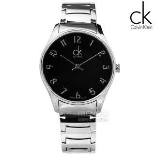 【Calvin Klein】Classic‧經典前衛時尚不鏽鋼腕錶 黑面/中(K4D2214X)