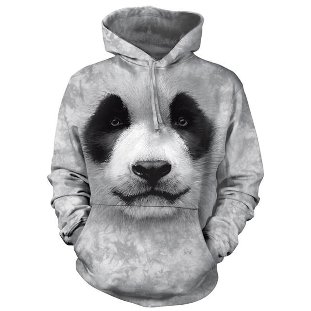【摩達客】美國進口The Mountain 熊貓胖達臉 長袖連帽T恤(預購)