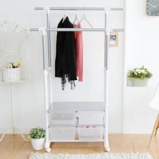 ~樂活主義~清新白色系雙桿四抽收納衣櫃 衣架