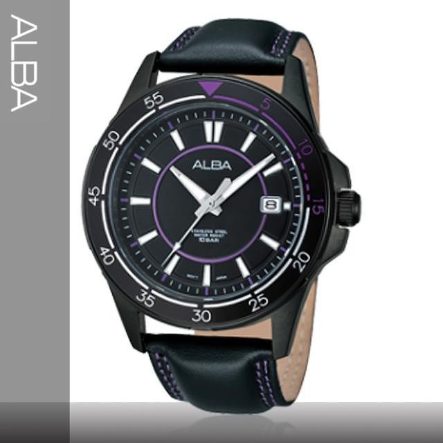 【SEIKO精工 ALBA】皮革錶帶 黑紫時尚男錶(AS9261X1)