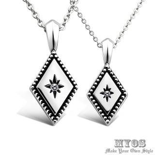 【MYOS】幸福永恆 項鍊 珠寶級西德鋼 情人對鍊(銀色款)