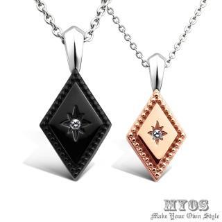 【MYOS】幸福永恆 項鍊 珠寶級西德鋼 情人對鍊(黑玫款)