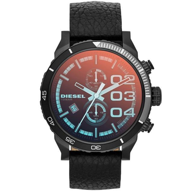 【DIESEL】創新自我雙眼時尚日期腕錶(皮帶-黑 DZ4311)