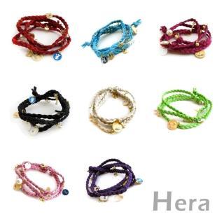 ~Hera~赫拉 雜誌多層皮繩編織墜物手鍊 八色