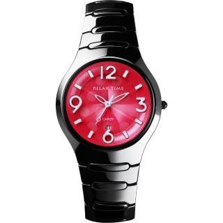 【Relax Time】Sweet Candy 甜心點點女孩陶瓷腕錶-桃紅x黑/37mm(RT-26-38)