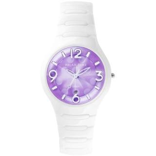 【Relax Time】Sweet Candy 甜心點點女孩陶瓷腕錶-紫x白/37mm(RT-26-31)