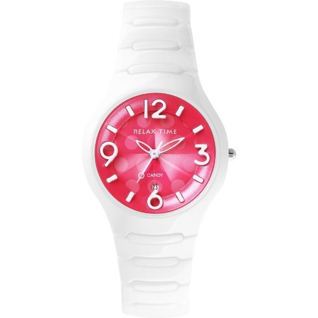 【Relax Time】Sweet Candy 甜心點點女孩陶瓷腕錶-桃紅x白/37mm(RT-26-30)