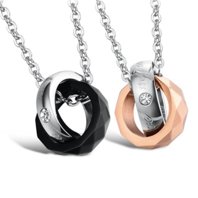 【I-Shine】黑金菱形戒指情侶鈦鋼項鍊(對鍊組)