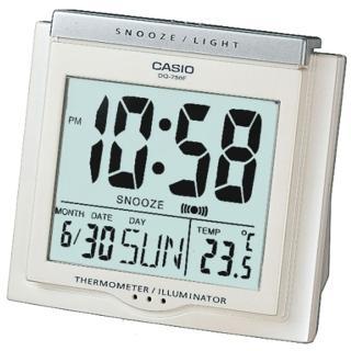 【CASIO 卡西歐】大字幕數位電子溫度鬧鐘(白-DQ-750F-7DF)