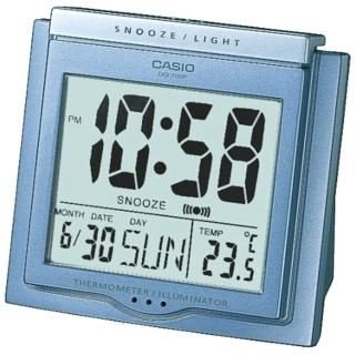 【CASIO 卡西歐】大字幕數位電子溫度鬧鐘(藍-DQ-750F-2DF)