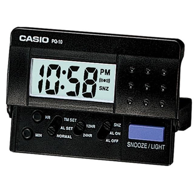 【CASIO 卡西歐】輕便數位電子鬧鐘(黑-PQ-10-1R)