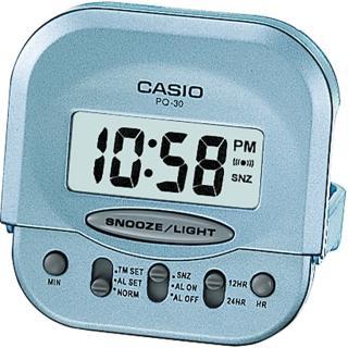 【CASIO 卡西歐】輕巧型摺疊電子鬧鐘(藍-PQ-30-2DF)