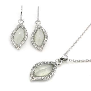 【約克鑽石】珍藏水形翡翠晶鑽(純銀包銠金套組)