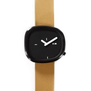 【NAVA DESIGN】經典淬鍊石頭造型腕錶-黑面棕(ND-O480NCL)