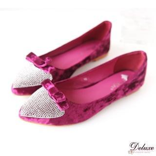 【☆Deluxe☆】甜心最愛-細絲絨蝴蝶結 愛心水鑽平底包鞋 ★紅 藍