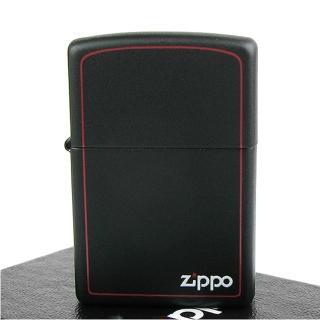 【ZIPPO】美系-LOGO字樣打火機-紅邊黑色烤漆-寬版