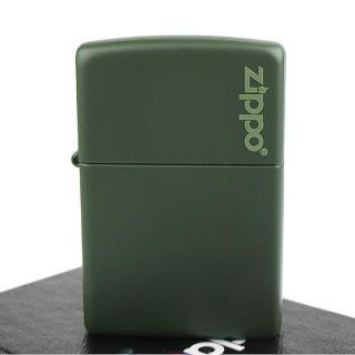 【ZIPPO】美系-LOGO字樣打火機-Green Matte軍綠烤漆(寬版)