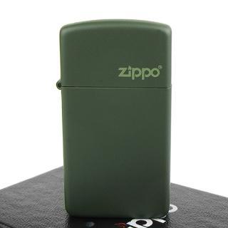 【ZIPPO】美系-LOGO字樣打火機-Green Matte軍綠烤漆(窄版)