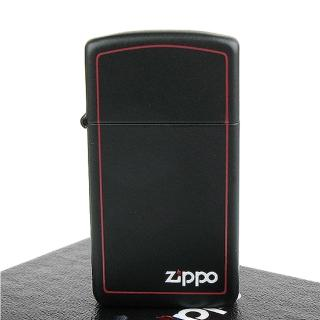 【ZIPPO】美系-LOGO字樣打火機-紅邊黑色烤漆(窄版)