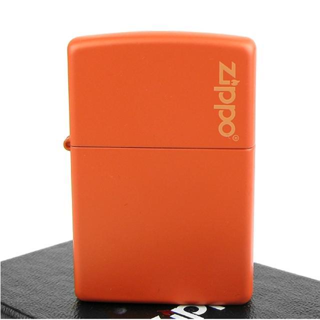 【ZIPPO】美系-LOGO字樣打火機-Orange Matte橘色烤漆(寬版)