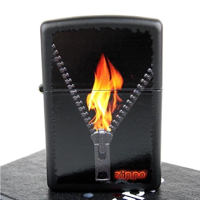 【ZIPPO】美系-Zipped-火焰拉鍊圖案彩印加工打火機