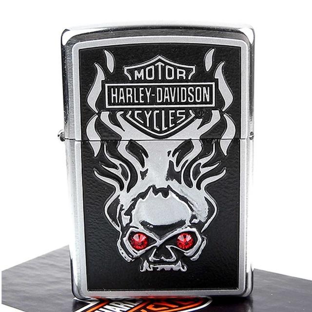 【ZIPPO】美系-哈雷-Harley-Davidson SKULL(施華洛世奇水晶貼飾打火機)