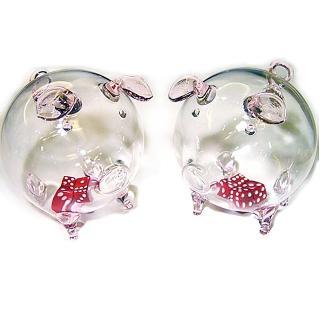 【開運陶源】開運骰子豬(玻璃豬 一對)
