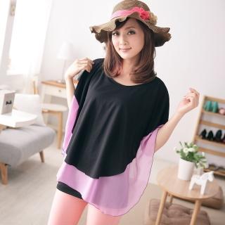 【衣心衣意中大尺碼】溫柔氣質-日系雪紡接色短袖上衣(紫-灰A3152)